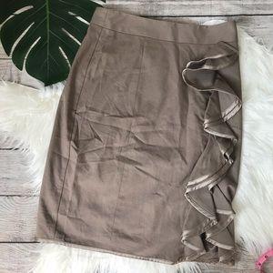 Nanette Lepore Tan Ruffle Pencil Skirt